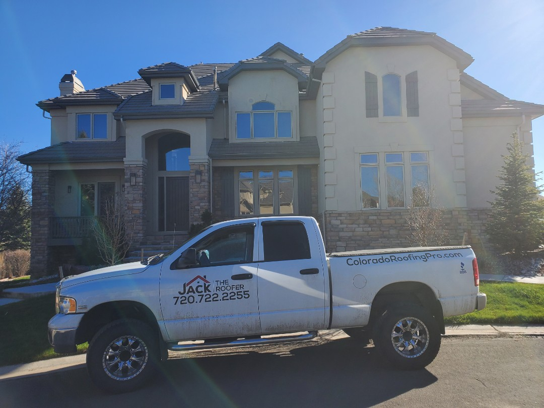 Castle Rock, CO - We are doing a roof inspection for a concrete tile roof on this house in Aurora. There have been numerous tiles that have slid out and need to be reinstalled and also a few tiles that have been broken and flashing that need to be sealed.