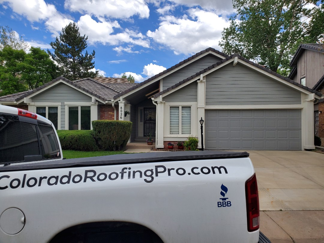 Castle Rock, CO - We are inspecting this bartile concrete roof that had some sketchy installation. There are numerous broken tiles that need to be replaced.
