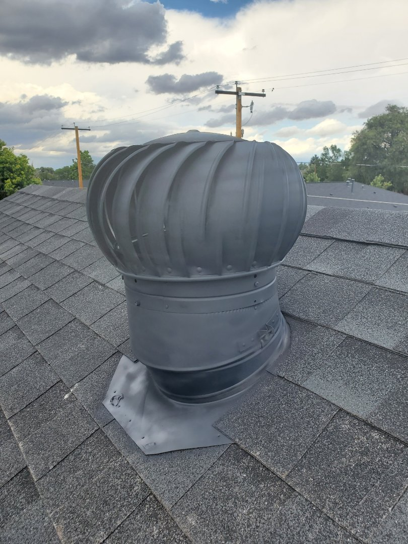 Denver, CO - We did a roof repair for this house that had a faulty turbine vent. We replaced the turbine vent with a new one and painted it to match the roof shingle color