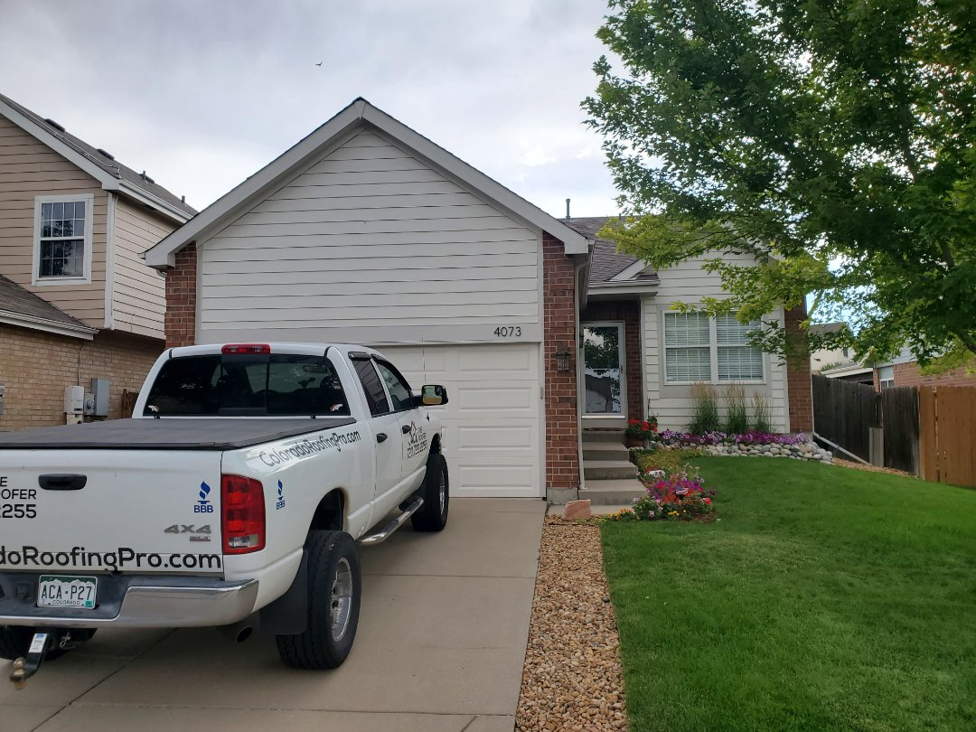 Aurora, CO - we are doing a roof inspection for this house in Aurora that might have some hail damage. We need to get the roof replaced before the house is sold in the next few weeks. The roof came up on an inspection report for the buyer.