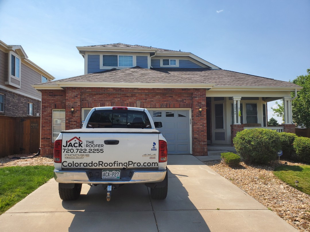 Aurora, CO - We are doing a roof inspection and quoting a full roof replacement for this house in Aurora, CO. This roof has some old hail damage and we recommend roof replacement