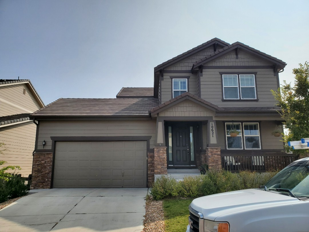 Parker, CO - We are doing a roof inspection for a roof repair for this concrete tile roof that has a number of broken tiles probably due to ice damming and snow piling up on the North facing slope of the roof