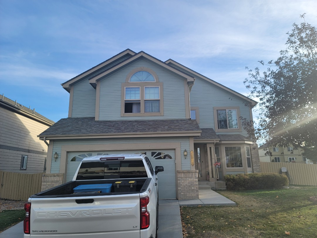 Parker, CO - We are doing a roof inspection for this house in Clark farms in Parker Colorado that has a roof leak and some bad flashing that needs to be replaced as well as some wind damaged shingles that will be replaced