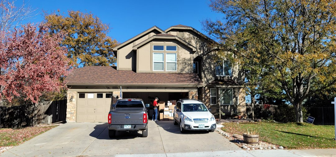 Littleton, CO - We are doing a roof repair for this house in Littleton that had some roof damage to some of the shingles from a tree rubbing against it in the wind.