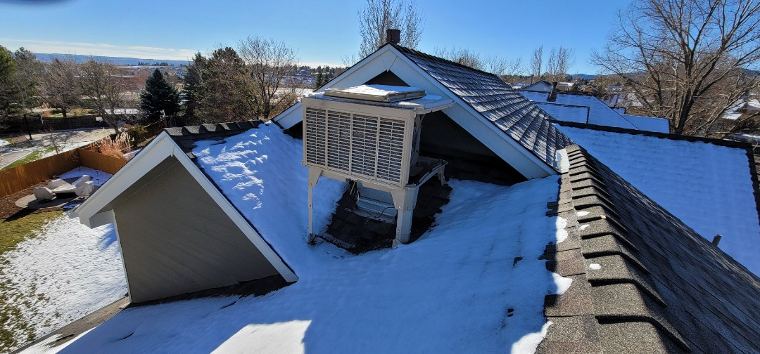 Littleton, CO - We are doing a roof inspection for this house in Littleton that needs to have a swamp cooler removed and the roof patched