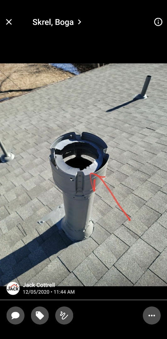 Centennial, CO - We are doing a roof inspection for this house in Centennial that needs a new flue cap and collar