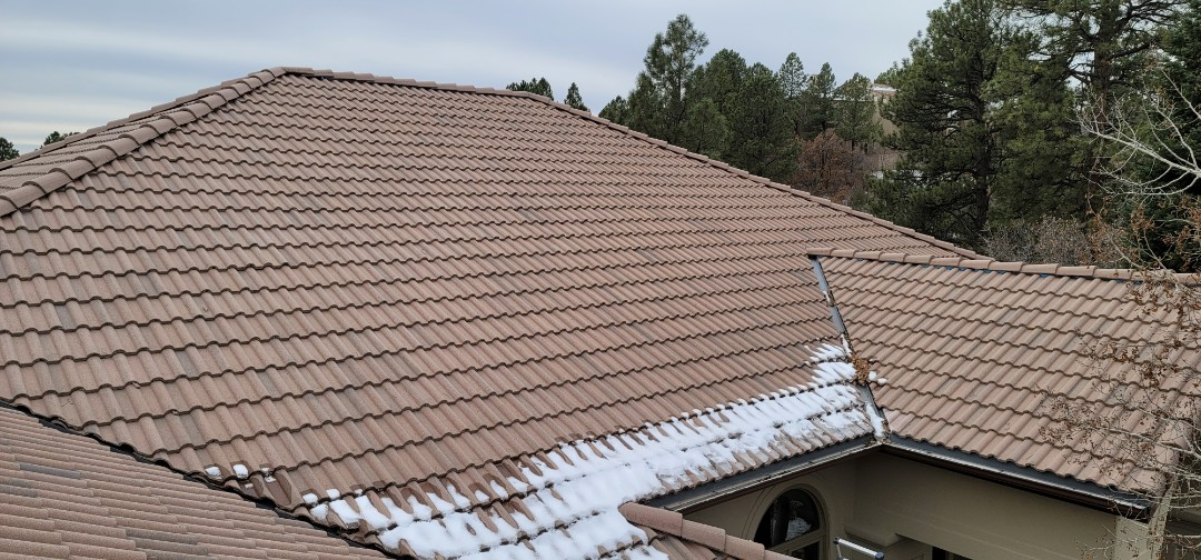 Castle Rock, CO - We are doing a roof repair on this concrete tile roof. There are critters getting in at a few vulnerable places on the roof and we are doing tile replacement for those that have broken