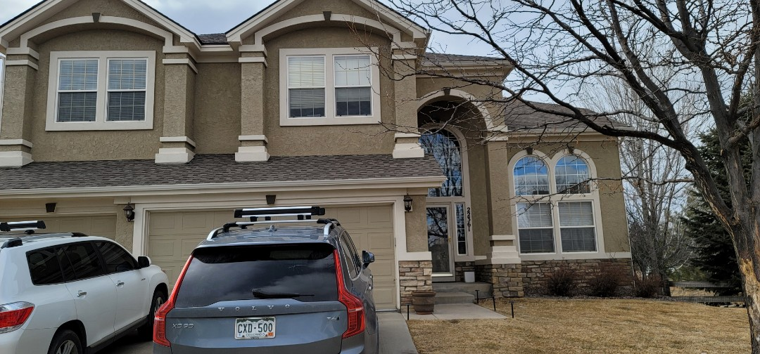 Parker, CO - we are doing a gutter repair for a downspout on this house in Parker that fell off with the last freeze when the downspout became filled with frozen water and became too heavy and pulled away from the house