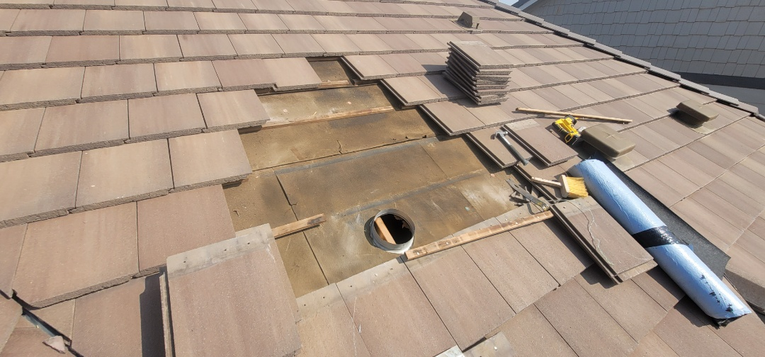 Parker, CO - We are doing a roof repair for this house in Parker that has a concrete tile roof. We fixed a roof leak that came from worn underlayment