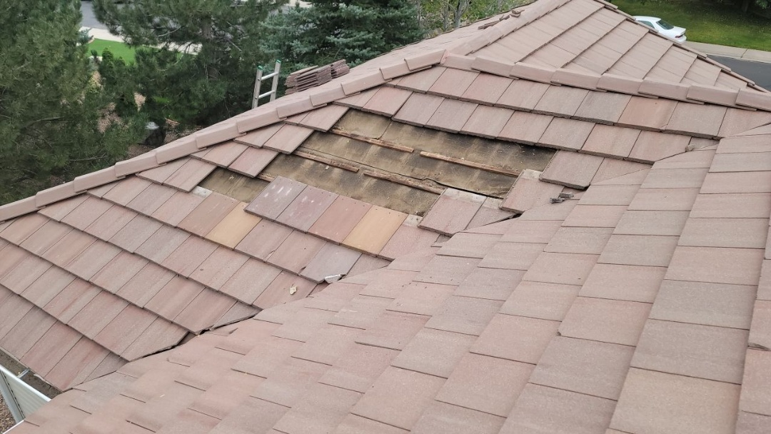 Aurora, CO - We are doing a roof repair for this concrete tile roof in Centennial