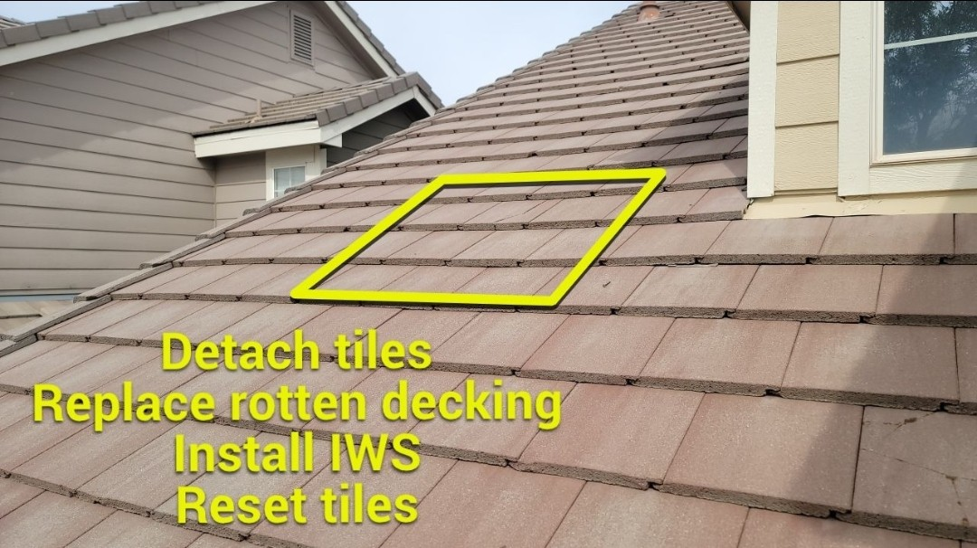 Aurora, CO - We are doing a roof inspection for this concrete tile roof in Centennial that has broken roof tiles and a roof leak