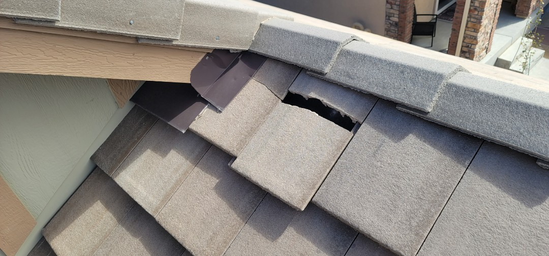 Highlands Ranch, CO - We are doing a roof repair for this concrete tile roof in Highlands Ranch