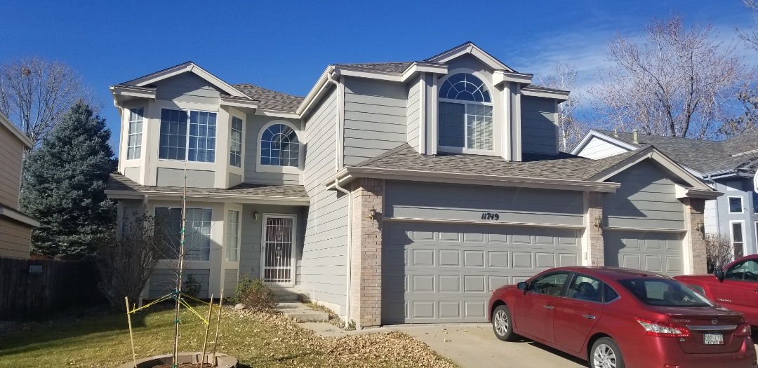 "Broomfield, CO - Re-roof with Owens Corning Duration Storm Class 4 impact resistant shingles, new 5"" gutters and new house paint"