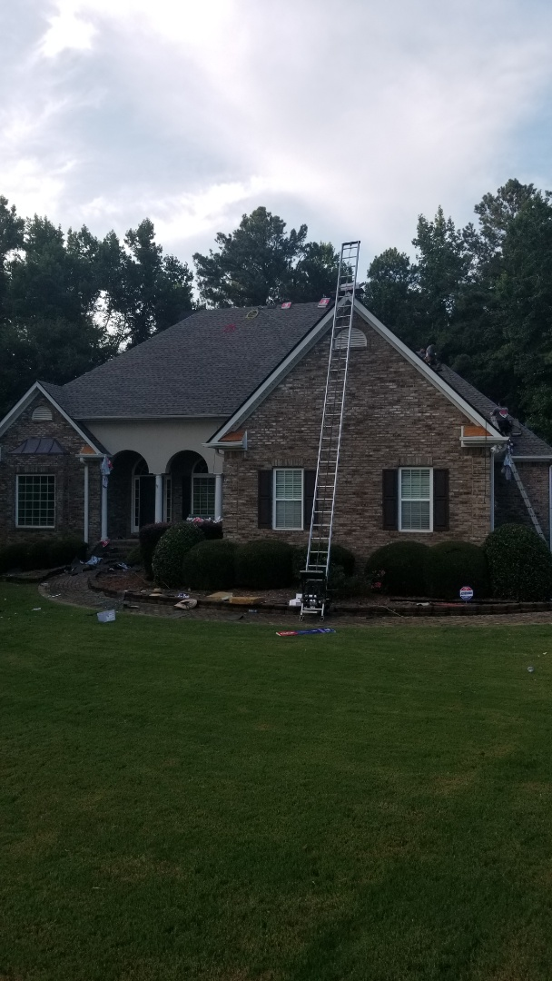 Sharpsburg, GA - Finishing up roof replacement for this beautiful house. Lots of rotten wood under shingles.