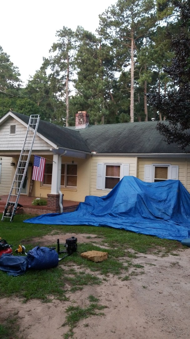 Griffin, GA - Installing a new GAF Timberline HdZ Charcoal roof this morning