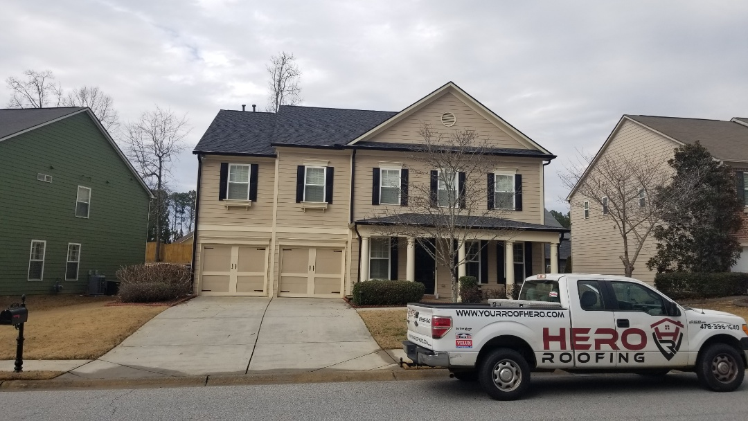 Peachtree City, GA - Full roof and gutters job for this beautiful home in PTC. Gaf timberline HDZ Charcoal. Hero Roofing strikes again!