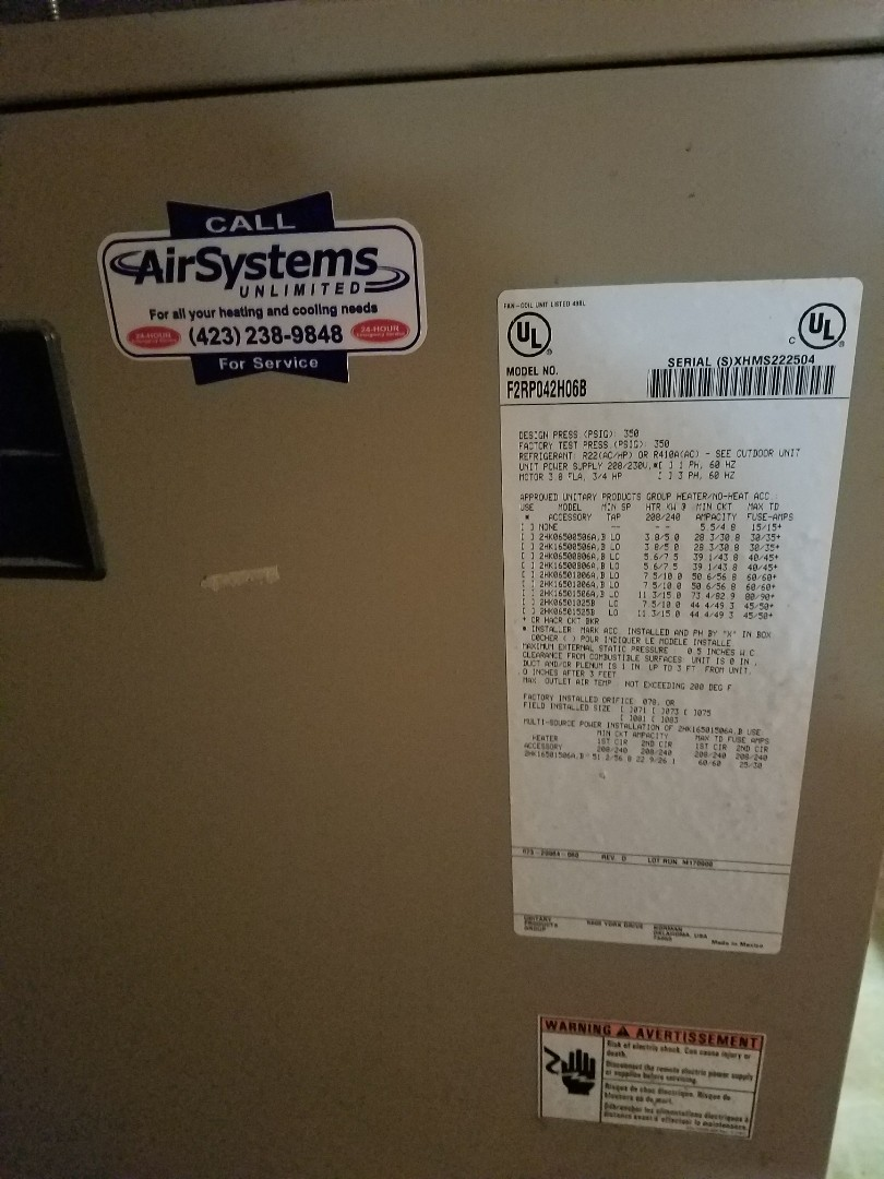 Cleveland, TN - Service call. Performed repair on York Heat Pump HVAC System.