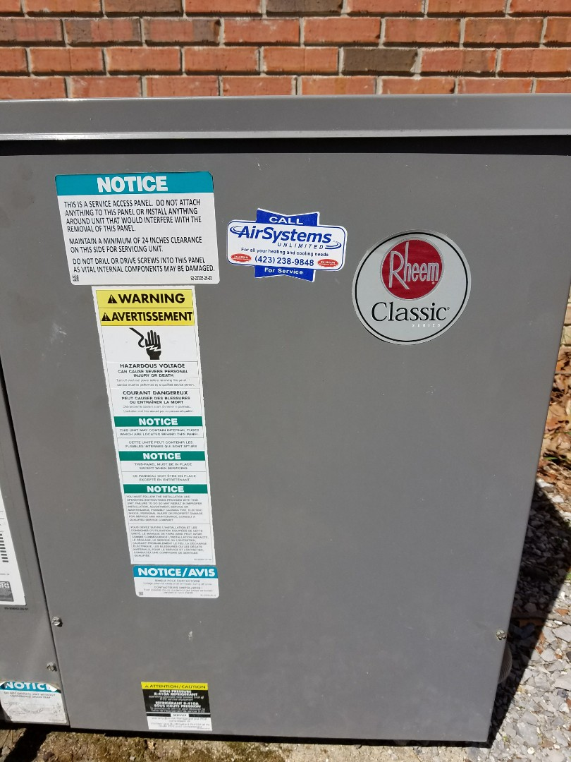 Soddy-Daisy, TN - Service call. Performed repair on Rheem package heat pump
