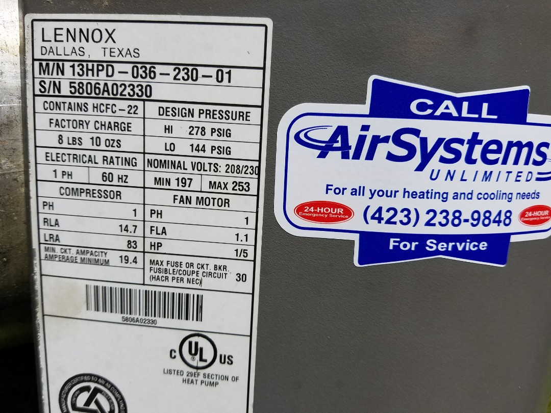 Chattanooga, TN - Maintenance Call. Performed tune up on Lennox Heat Pump