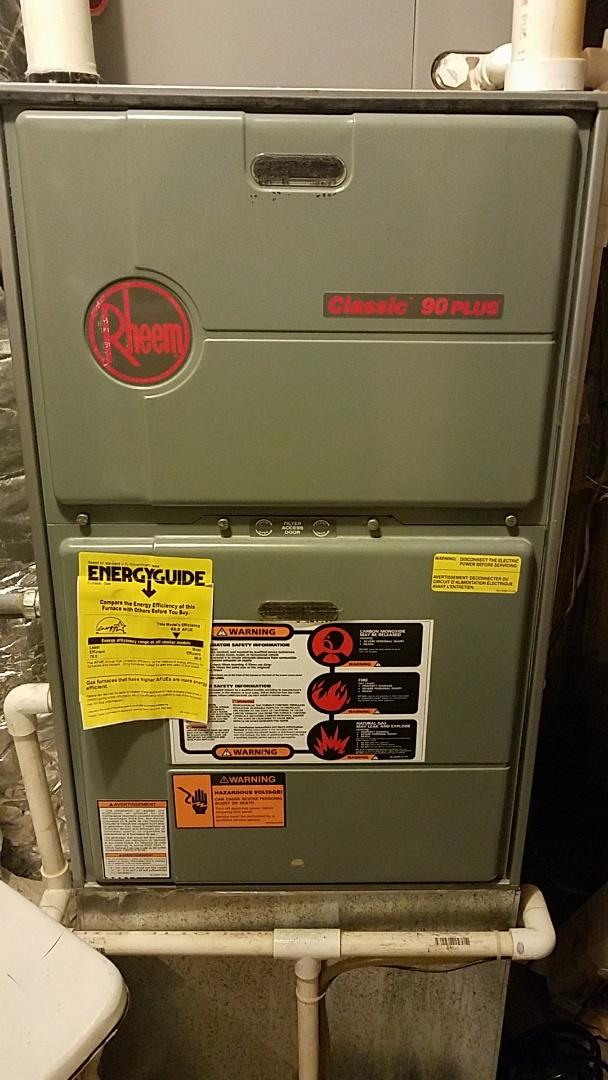 McDonald, TN - Service call. Performed repair on Rheem gas furnace.