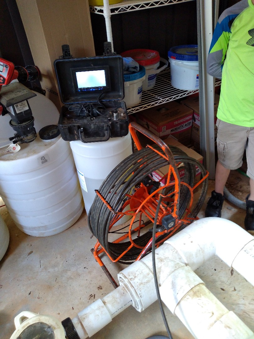 Video camera inspection on sewer line