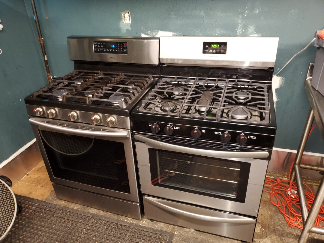 Hook up two natural gas stoves.