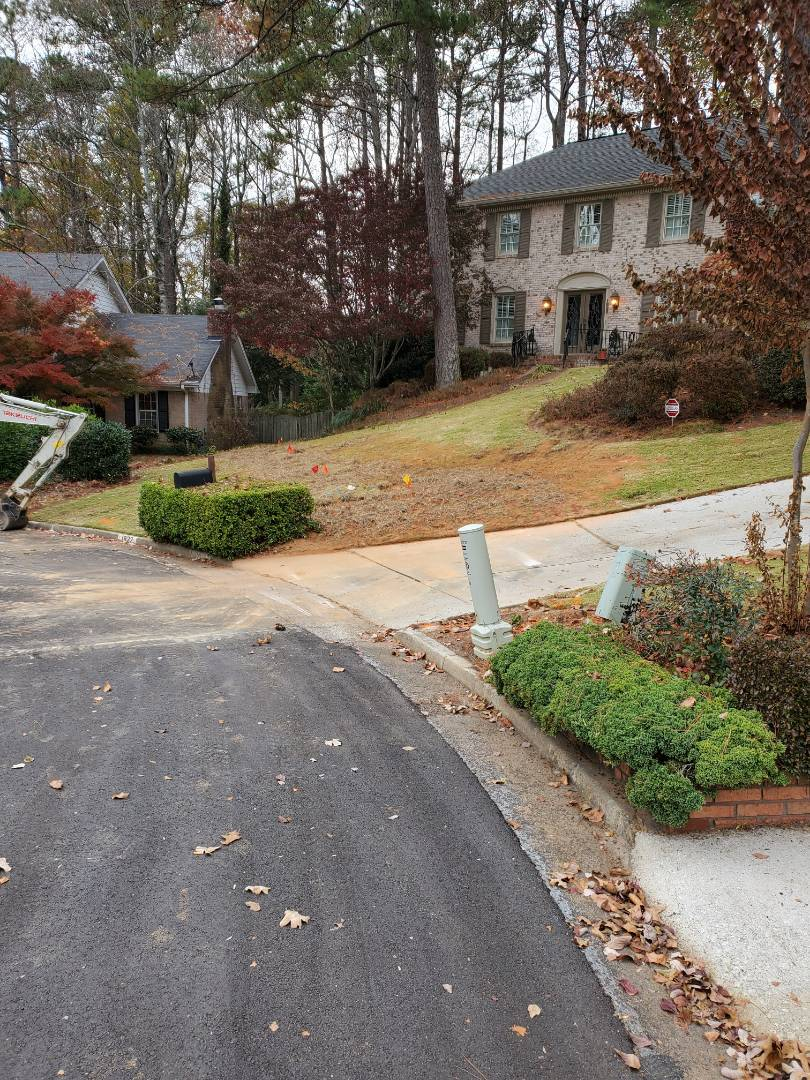 Dunwoody, GA - Reroute and install new 4in PVC sewer line and install 6in property line cleanout