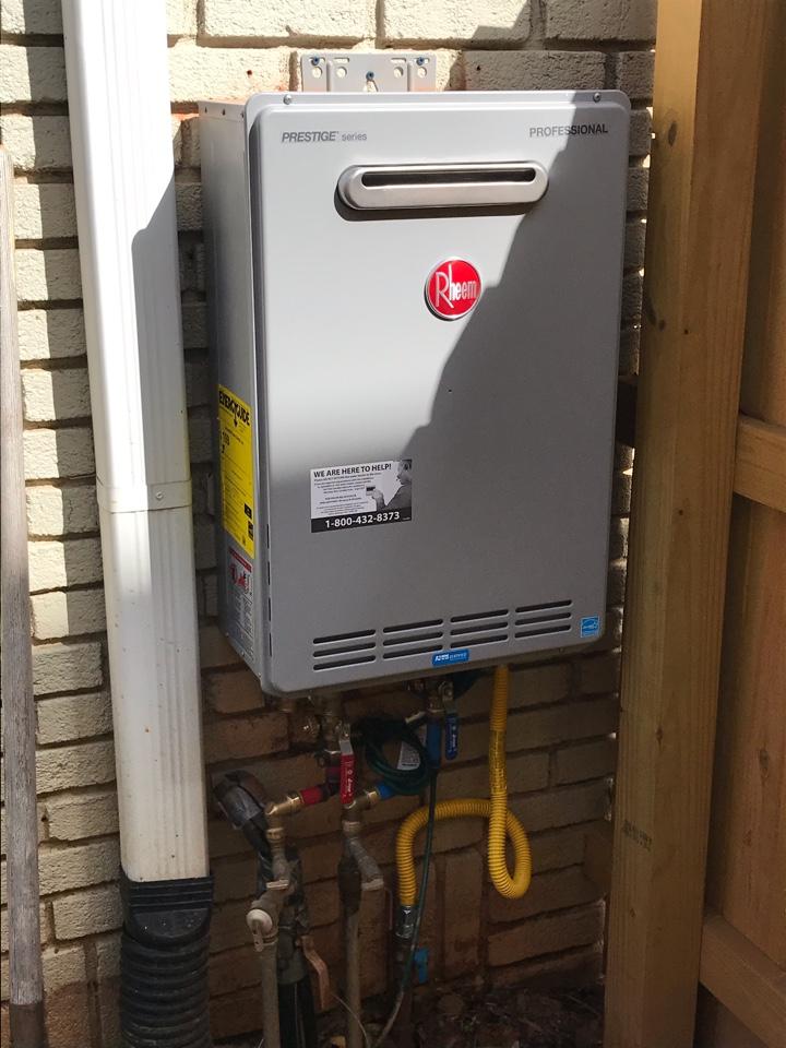 Atlanta, GA - Installed new Rheem exterior tankless water heater