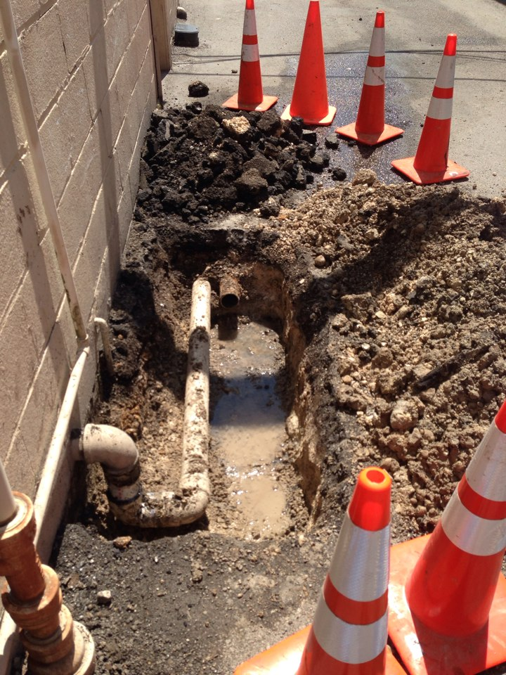 San Antonio, TX - 3 inch water line repair at Aladdin Cleaning and Restoration