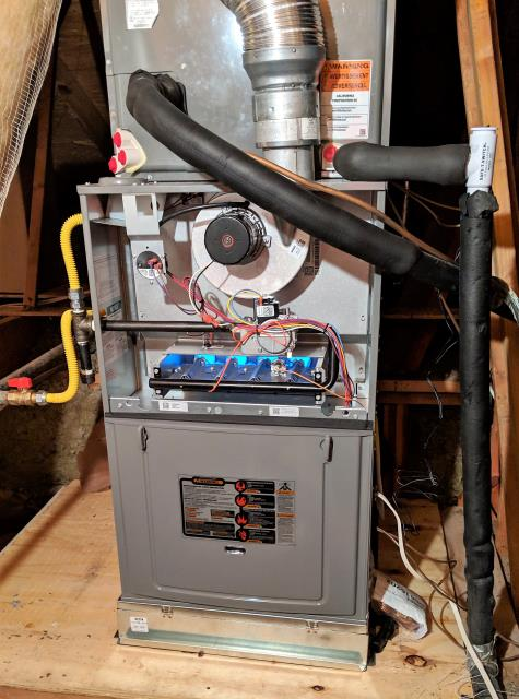 Replace the Central Heater and Evaporator coils. Install new wood platform with a filter base to make changing the filter easier.