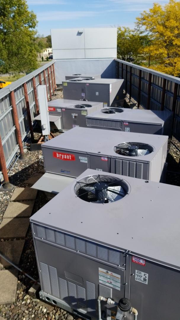 Savage, MN - Performing tune-ups on 7 Bryant rooftop units in Savage Minnesota