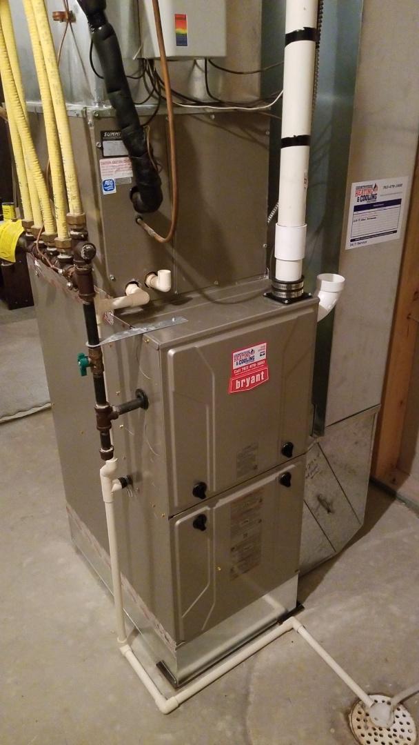 Delano, MN - Installing new Bryant furnace in Delano Minnesota