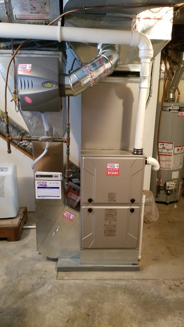 Dayton, MN - Installing new AC furnace water heater and humidifier in Dayton Minnesota
