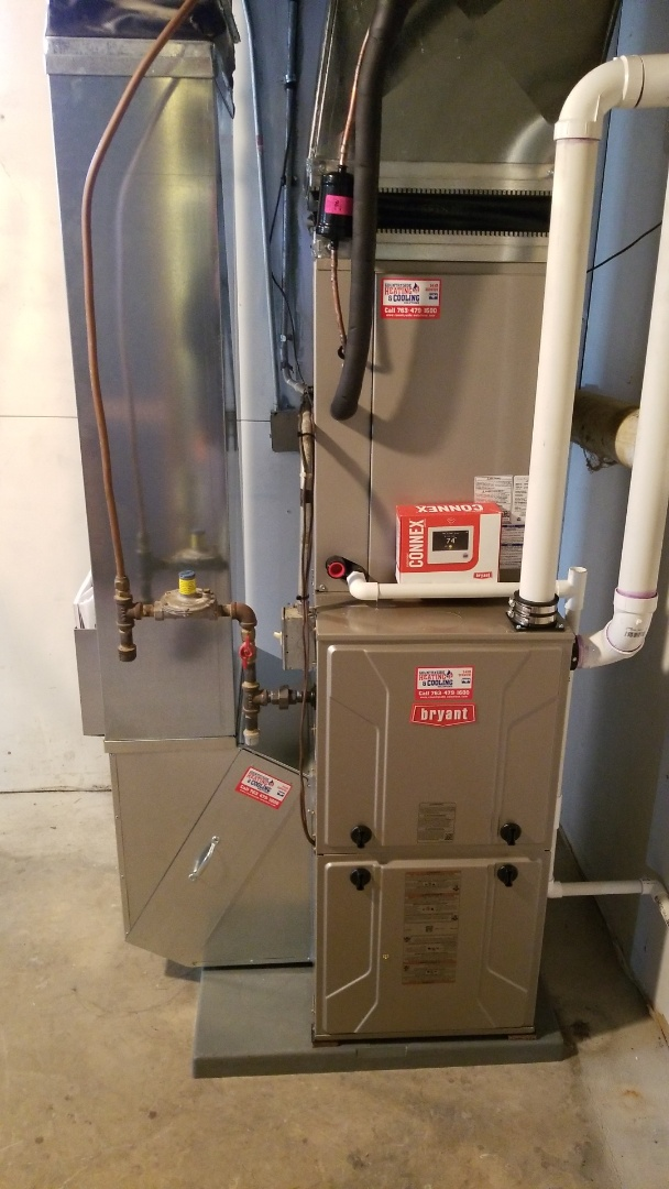 Minnetrista, MN - Installing new Bryant furnace and air conditioner in Mound Minnesota