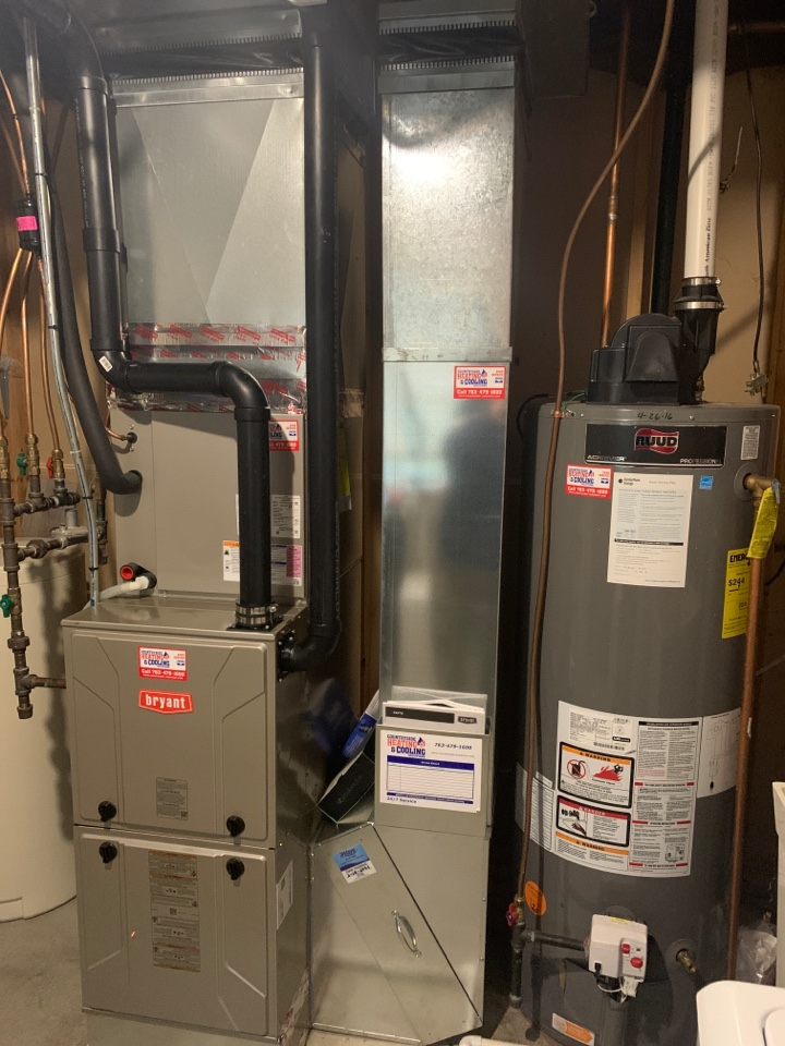 Annandale, MN - Install new Bryant furnace with WiFi thermostat in Annandale MN