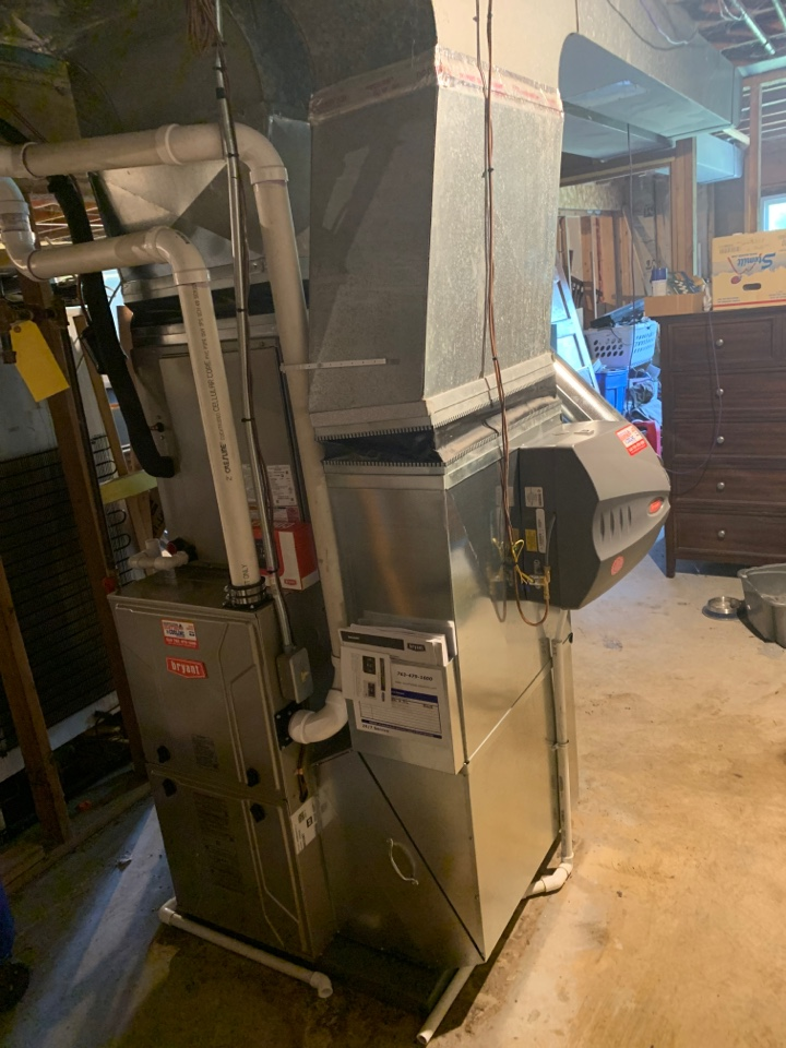 Install new Bryant evolution furnace and air conditioner with humidifier and connex thermostat in Corcoran MN