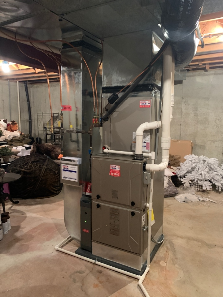 Install new Bryant evolution furnace and air conditioner with connex thermostat in long lake MN