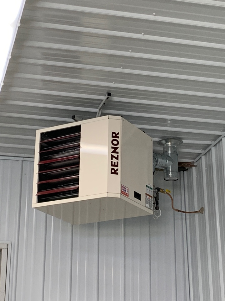Install new reznor unit heater to building in maple plain mn