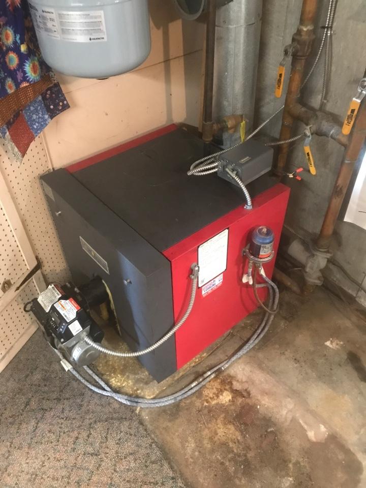 Performed annual preventative maintenance on a oil burning boiler in Mound Minnesota