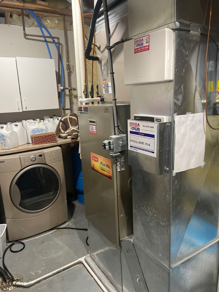 Tuned up a Bryant furnace at a home in Delano, MN!