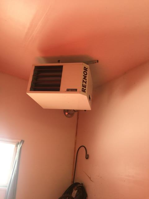 Orono, MN - Installation of Reznor garage unit heater.