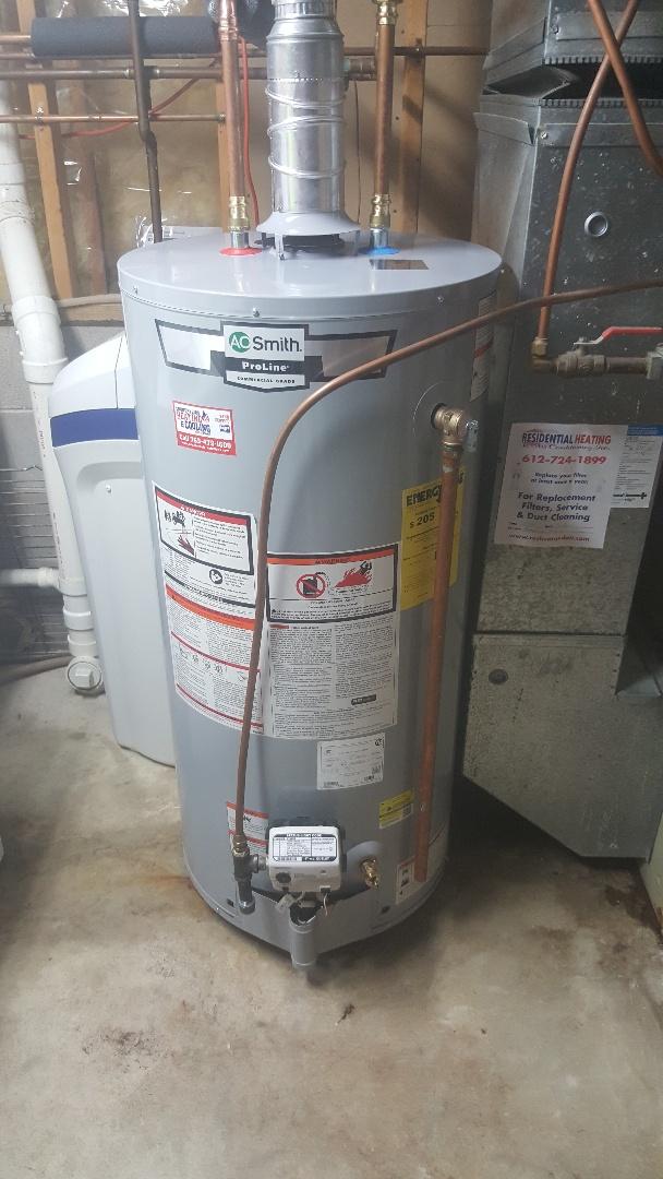 Minneapolis, MN - Installing water heater in Brooklyn Center