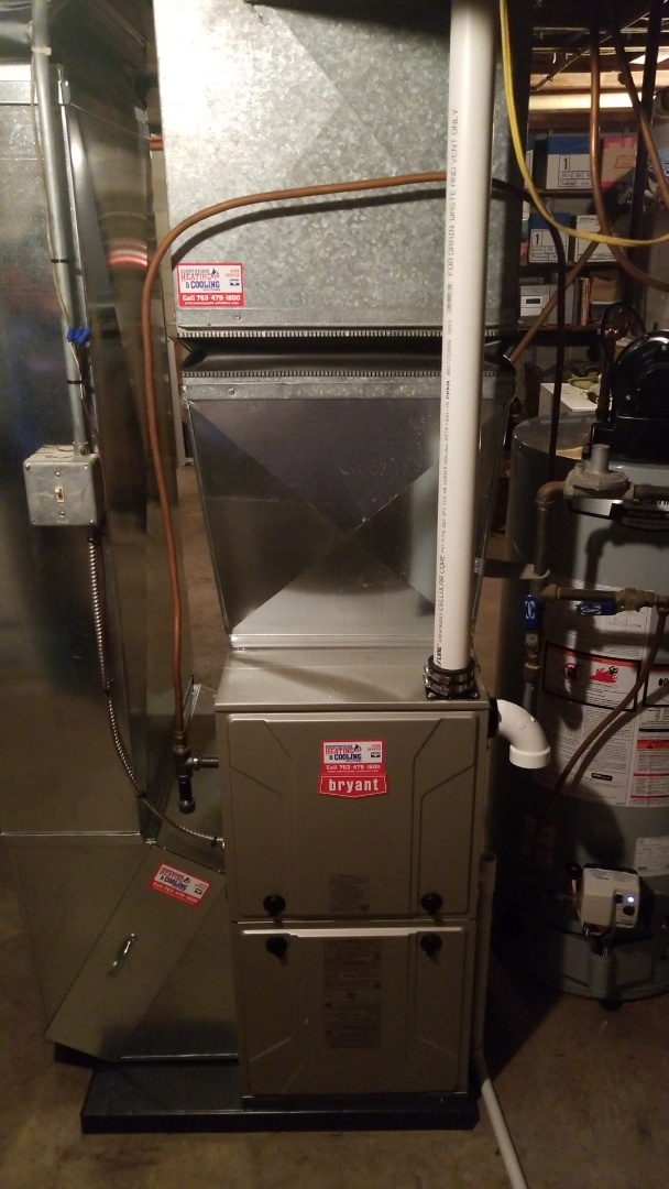 Chanhassen, MN - Installing Bryant furnace and water heater in Maple Plain