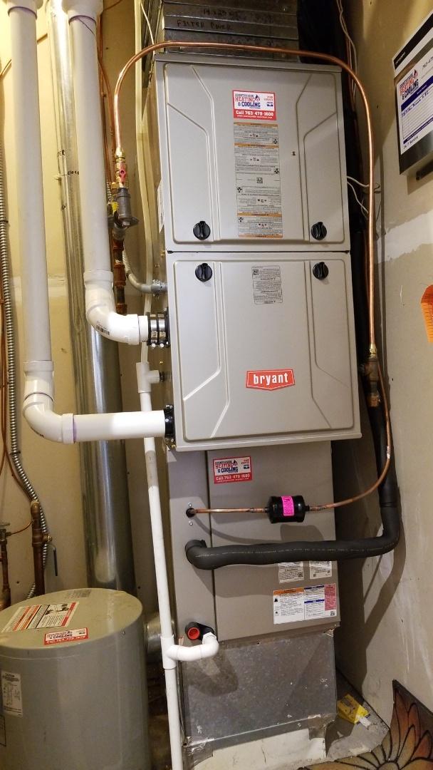 Eden Prairie, MN - Installing new Bryant AC and furnace in Eden Prairie