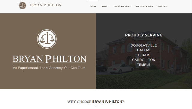Douglasville, GA - We are excited to reveal the new website we built for one of our local clients, Bryan P. Hilton! He is a highly experienced sole practitioner servicing Douglas, Carroll, and Paulding County in the areas of Family Law, Criminal Defense, Real Estate Litigation, Wills, and Probate.