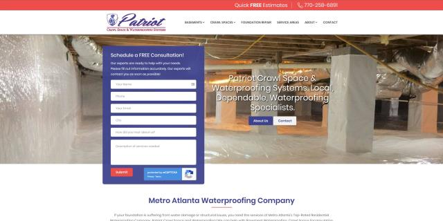 Today we launched a redesign for Patriot Crawl Space and Waterproofing with improved design, branding, and performance. We are proud to continue growing with such a great company.