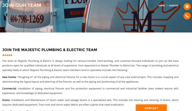 Marietta, GA - Content updates for plumbing and electrical website.   Adding pages and feedback forms as well as tweaking the landing pages.  They are growing their business online and offline and are looking to hire new staff members.  Outside of local SEO and social media marketing we are working to add employment information and applications to their website.