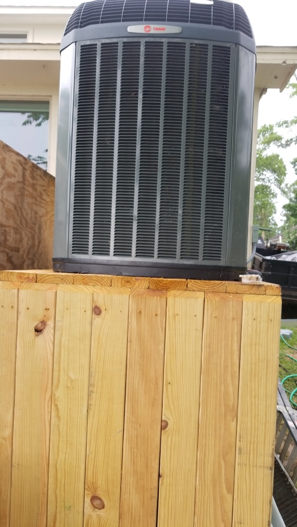 Huffman, TX - Finishing installing another 20 Seer Trane system. Going beyond the call of duty. Had to become a general contractor on this one to get the permit. We had to put this on a five foot deck because this was in a flood district in Hurricane Harvey. This will save another 50 percent on customers electric bill like the other 20 Seer system we put in on 2015.