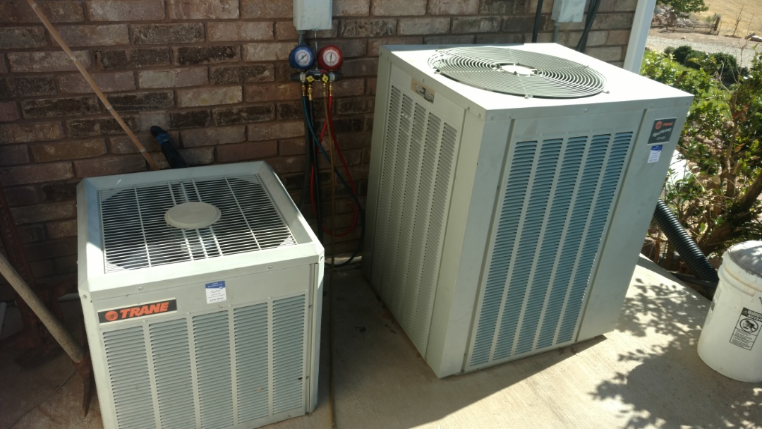 Leeds, UT - Dixie Heating and Air Conditioning replacing bad condenser fan motor and adding refrigerant to Trane AC split system
