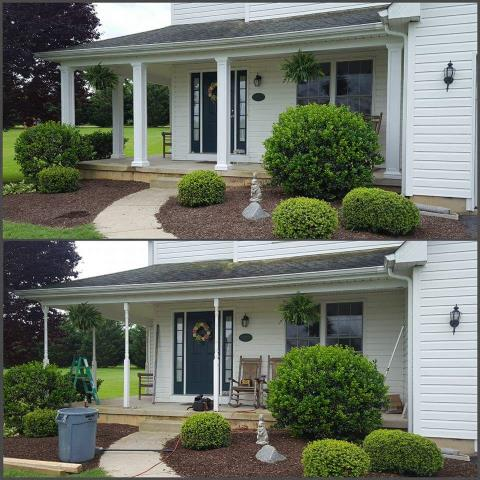 Earleville, MD - Here is a before and after of a front porch post replacement we just finished